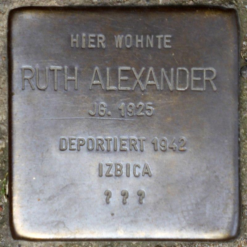 Stolperstein für Ruth Alexander (Rheinbabenstraße 106)