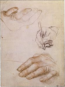 Studies of the Hands of Erasmus, by Hans Holbein the Younger.jpg