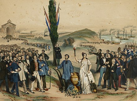 The establishment of universal male suffrage in France in 1848 was an important milestone in the history of democracy. Suffrage universel 1848.jpg