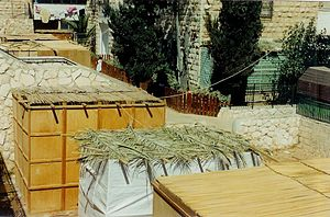 Sukkot - External aerial view of Sukkah booths where Jewish families eat their meals and sleep throughout the Sukkot holiday