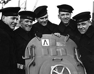Sullivan brothers - The Sullivan brothers on board the USS Juneau; from left to right: Joe, Frank, Al, Matt and George.