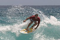 Surfing in Hawaii. A photograph of Kris Burmei...