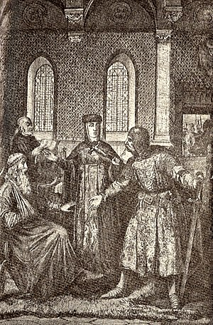 Hedwig of Silesia - Hedwig intercedes between Henry and Konrad, 19th century depiction