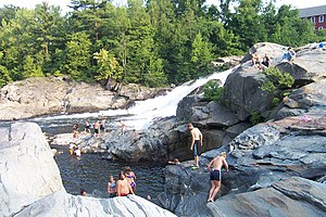 Deerfield River - Swimming in the Deerfield River in Shelburne Falls
