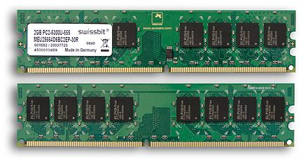 Example of writable volatile random-access memory: Synchronous Dynamic RAM modules, primarily used as main memory in personal computers, workstations, and servers. Swissbit 2GB PC2-5300U-555.jpg