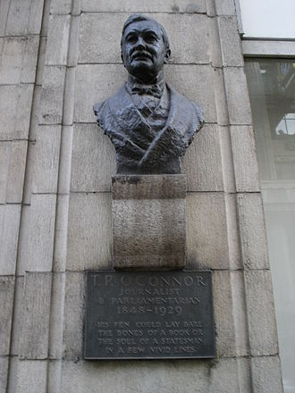 "T. P. O'Connor - Bust of journalist and politician T. P. O'Connor in Fleet Street, London.  The inscription reads, ""His pen could lay bare the bones of a book or the soul of a statesman in a few vivid lines."""