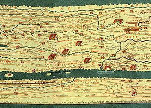 Franks - Detail of the Tabula Peutingeriana, showing Francia at the top