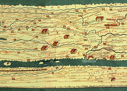 Detail of the Tabula Peutingeriana, showing Francia at the top TabulaPeutingeriana with Francia.jpg