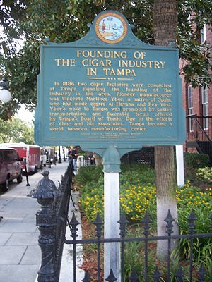 Historical marker about the history of the cig...