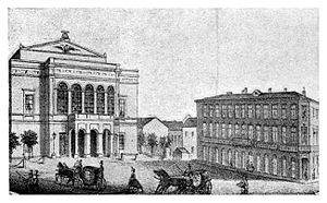 Ion Heliade Rădulescu - The old building of the National Theatre Bucharest in 1866