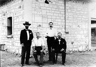 Thomas Bradshaw (postmaster) - Thomas Bradshaw (right) at the Alice Springs Telegraph Station.