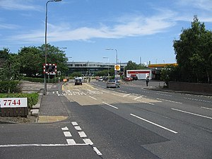 Crewe Toll - Looking towards Crewe Toll roundabout from Telford Road