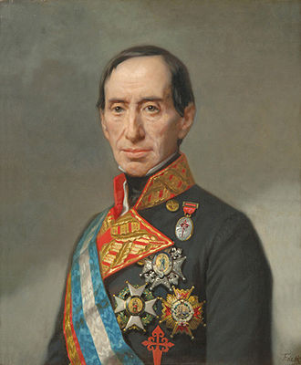 Baztan, Navarre - Lieutenant General of the Spanish Army José Manuel de Goyeneche, 1st Count of Guaqui, Perú - Bolivia, Grandee of Spain, (Arequipa, Peru, 1776 - Madrid, 1846). Painting by Federico de Madrazo, (1815 - 1894)