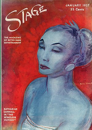 The Wingless Victory - Jo Mielziner's portrait of Katharine Cornell in The Wingless Victory on the cover of Stage magazine (January 1937)