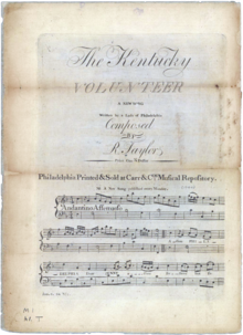 "A print of the original sheet music for ""The Kentucky Volunteer"", 1794"