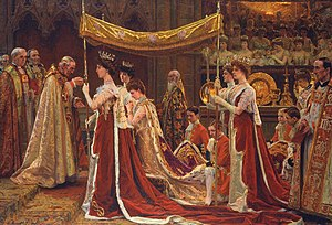 Page of Honour - Pages of Honour carrying the train of Queen Alexandra during her anointing at the Coronation of Edward VII depicted in a painting