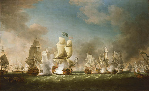 The Royal Navy destroys a Spanish fleet off Sicily, Cape Passaro, August 1718. The Battle of Cape Passaro.jpg