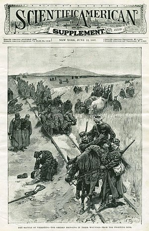"Greek Americans - Scientific American Supplement in June 1897: ""The Battle of Velestino - The Greeks bringing in their wounded from the fighting line""."