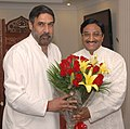 The Chief Minister of Uttarakhand, Shri Ramesh Pokhriyal meeting the Union Minister of Commerce and Industry, Shri Anand Sharma, in New Delhi on July 08, 2009.jpg