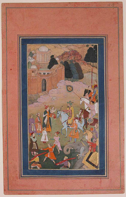 Humayun is reunited with Akbar. The Emperor Humayun Returning from a Journey Greets his Son.jpg
