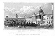 The London University as drawn by Thomas Hosmer Shepherd and published in 1827/28. This building is now part of University College London, which today is one of the many constituent colleges and institutes of the University of London.