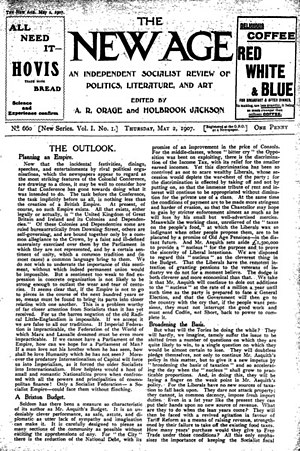 The New Age - Issue number 1 of the relaunched The New Age 2 May 1907