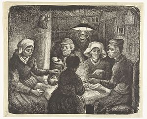 The Potato Eaters - Lithograph (April 1885), reversed, Rijksmuseum, Amsterdam