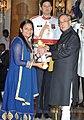 The President, Shri Pranab Mukherjee presenting the Padma Shri Award to Sushri Arunima Sinha, at a Civil Investiture Ceremony, at Rashtrapati Bhavan, in New Delhi on March 30, 2015.jpg