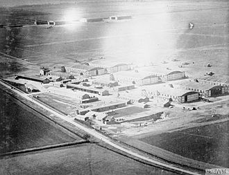 Royal Flying Corps - General view of Waddington Aerodrome taken from the air, looking north-west. 11 February 1918