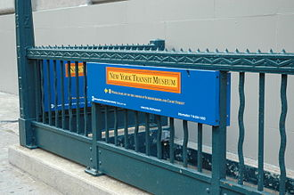 New York Transit Museum - Side view of the street entrance on the corner of Boerum Place and Schermerhorn Street