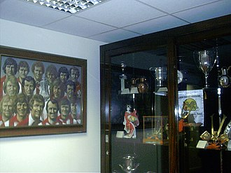 The club's trophy cabinet, located within the St. Mary's Stadium The Trophy Cabinet - geograph.org.uk - 493193.jpg
