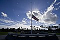 "The U.S. flag is at half-mast at Atterbury circle at Joint Base Pearl Harbor-Hickam, Hawaii, Jan. 11, 2012, during the memorial for Army Capt. Wilfred ""Fred"" Toczko before his burial at the Hawaii State Veterans 120111-F-MQ656-061.jpg"