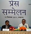 The Union Steel Minister, Shri Beni Prasad Verma interacting with the media, at Lucknow on September 19, 2011. The Chairman, SAIL, Shri C.S. Verma is also seen.jpg