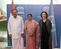 The Vice President, Shri M. Venkaiah Naidu and Smt. Usha Naidu being received by the Director General of UNESCO, Ms. Audrey Azoulay, on their arrival, at the Hqrs. of UNESCO, in Paris, France on November 09, 2018.JPG