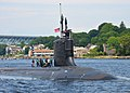 The attack submarine USS Missouri (SSN 780) transits the Thames River as it departs Naval Submarine Base New London in Groton, Conn., June 18, 2013, for a regularly scheduled deployment 130618-N-ZZ999-266.jpg