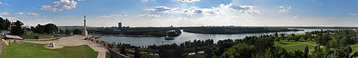 The confluence of the Sava into the Danube at Belgrade