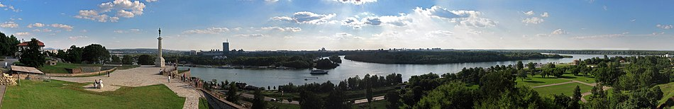 The confluence of the Sava into the Danube at Belgrade.jpg