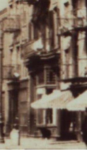 109 Washington Street - Metal and glass bay window at ground level storefront of 109 Washington Street, c. 1911