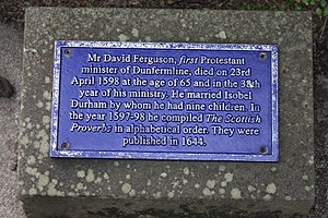 David Ferguson (reformer) - The plaque on David Ferguson's grave, Dunfermline Abbey