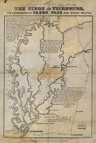 Yazoo Pass Expedition - 1865 descriptive map