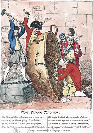 "George Germain, 1st Viscount Sackville - In The State Tinkers (1780), James Gillray caricatured Germain (second from left) and his political allies as incompetent tinkers of the National Kettle. Posted on the wall behind Germain is the ""Plan of Minden""."
