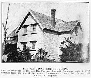 Thomas Blacket Stephens - Thomas Blacket Stephens home, Cumbooqueepa, South Brisbane, Queensland, circa 1860
