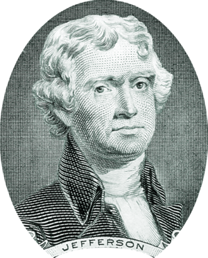 Thomas Jefferson portrait on two dollar bill