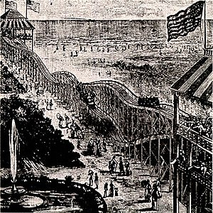 Roller coaster - Thompson's Switchback Railway, 1884