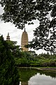 Three Pagodas of Chongsheng Temple view from reflecting pond.jpg