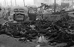 Charred remains of Japanese civilians after a firebombing
