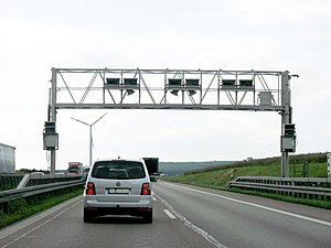 LKW-Maut - Toll-collect gantry on A65.