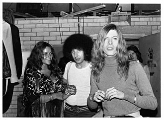 Tony Defries - Left to right: Dana Gillespie, Tony Defries and David Bowie at Pork at London's Roundhouse 1971.