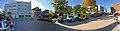 Torggata, Jernbanegata, Nytorget, Mo i Rana, Norway, 2017-10-09, Rana tinghus tingrett, bibliotek, kulturskolen – cropped distorted panorama b.jpg
