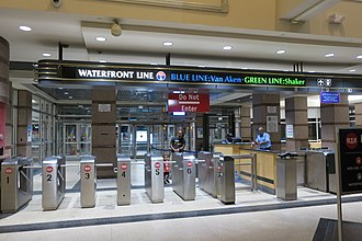 Tower City station - Image: Tower City Blue and Green Line platform entrance